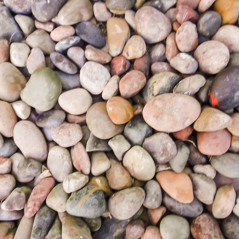 Dozens of smooth rocks