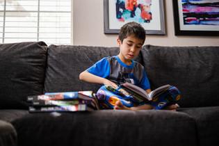 Boy reading Dog Man