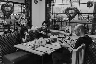 Black and white picture of family at a Mexican restaurant in downtown Las Vegas