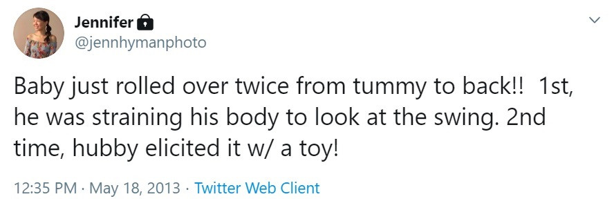 Tweet about a baby rolling over
