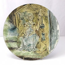Enamel Bowl with Medieval Lactation Nurse and Twins