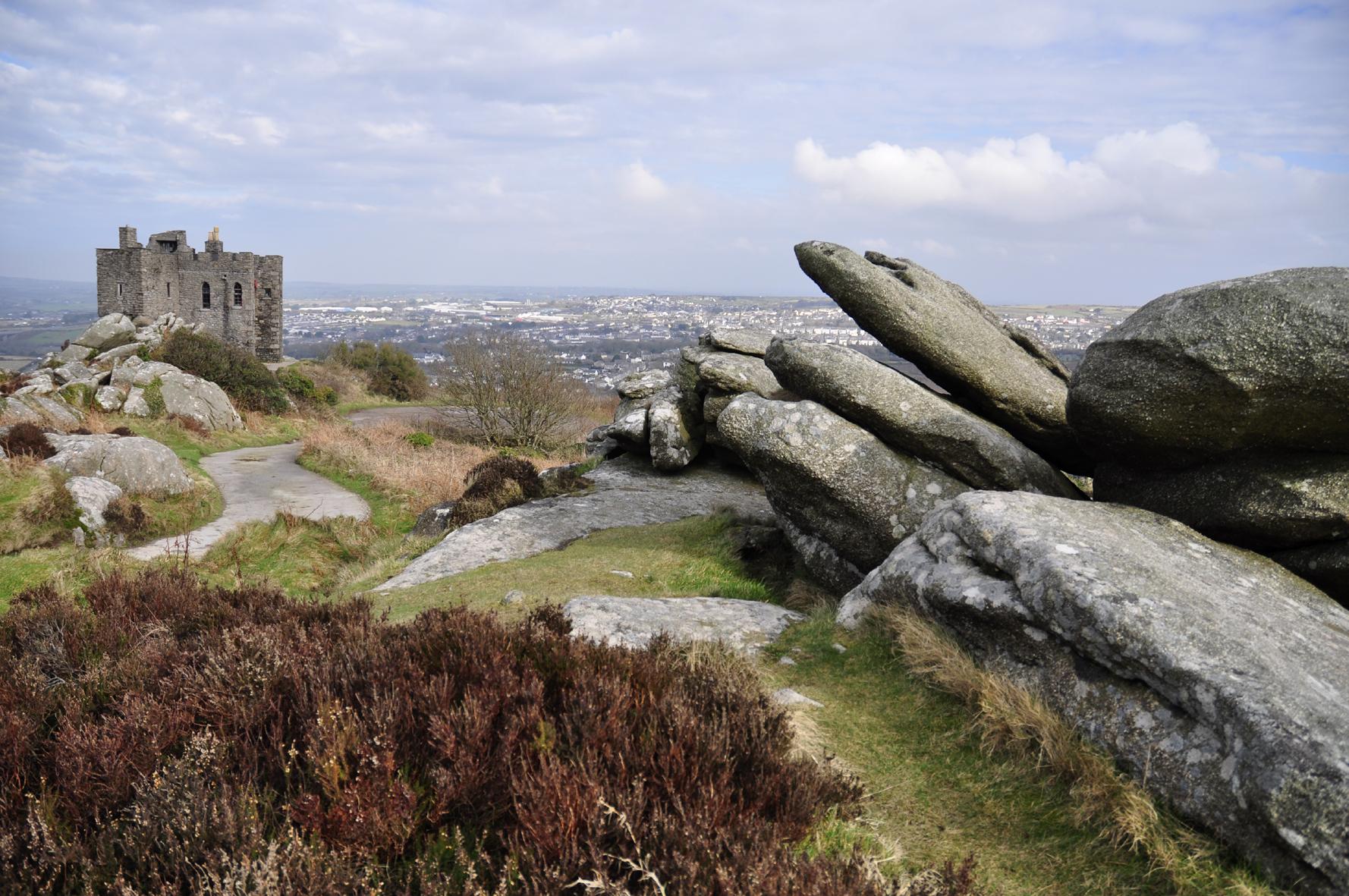 Up Carn Brea Hill
