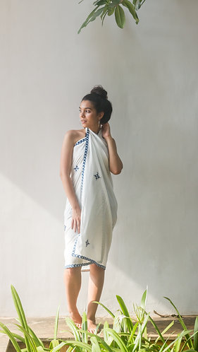 White Sarong with Blue embroidery