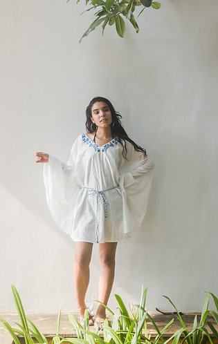 White embroidered poncho