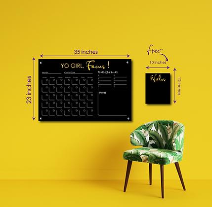 Yo Girl, Focus! LARGE  HORIZONTAL- Double layer black acrylic calendar wall