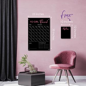 Black Acrylic Calendar Wall Sign with Mirror Acrylic - Yo Girl, Focus!