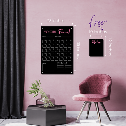 Yo Girl, Focus! LARGE - Double layer black acrylic calendar for home and office.