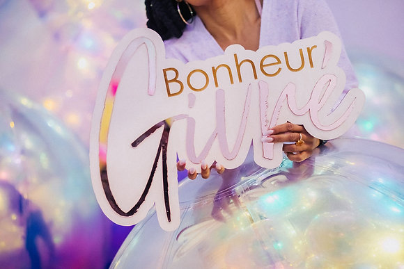 Bonheurs Givrés - Double Layers Wood & Acrylic sign for Home decor, photo booth