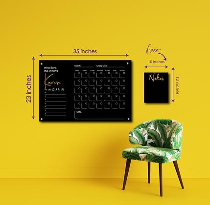 Who Run The World? YOU! LARGE HORIZONTAL- Double layer black acrylic calendar