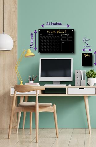 Yo Girl, Focus! SMALL HORIZONTAL - Double layer black acrylic calendar