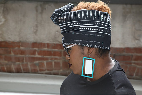 Pam Lan Zanno - Teal and white double rectangular earrings