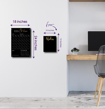 Who Run The World? YOU! SMALL - Double layer black acrylic calendar
