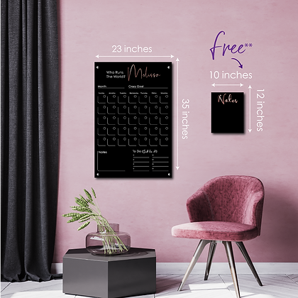 Who Run The World? YOU! LARGE - Double layer black acrylic calendar