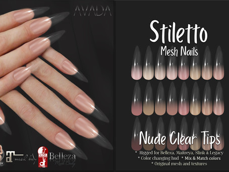 Stiletto Nude Clear Tips