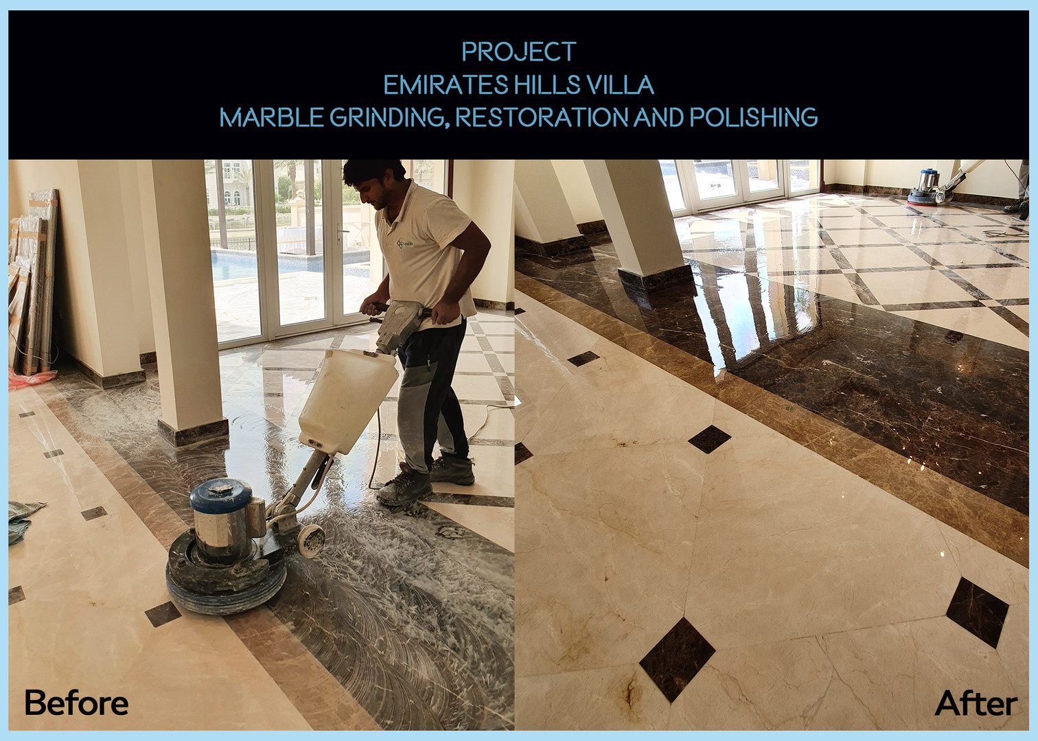 Marble Polishing for Emirates Hills Villa