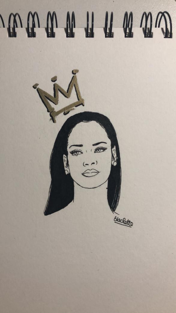Portrait Rihanna Encre de Chine