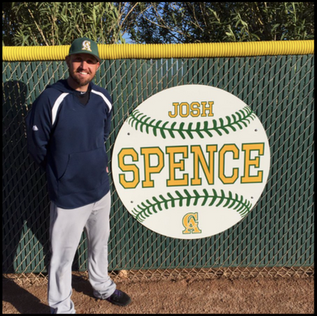 Josh with is name on the wall at Central Arizona College