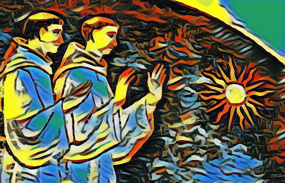 Monaci irlandesi che adorano Gesù come il Dio del Sole