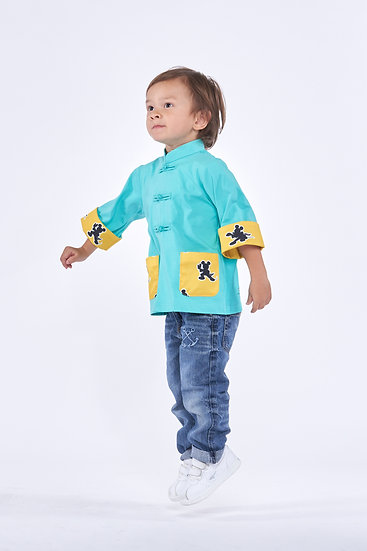 DISNEY Boys' Kungfu Mickey Cotton Oriental Jacket (Green)