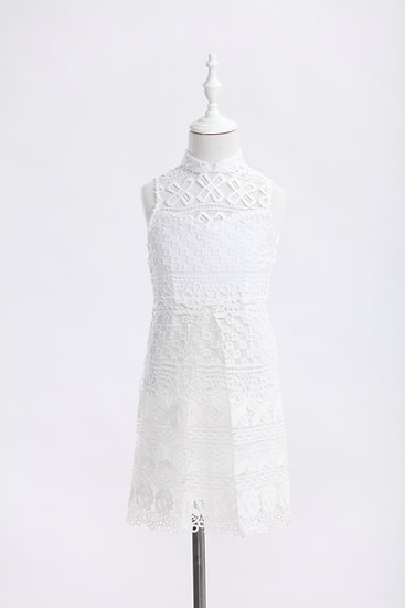 Yi-ming - Kids White Floral Lace Qipao