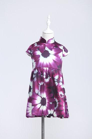 Yi-ming - Kids Purple Cineraria Print Silk Dress