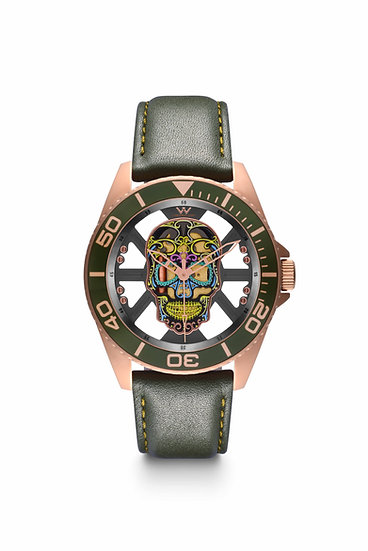 W Laboratory - Hallow SKULL Face Watch - Rose Gold/Green