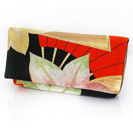 Envelope Clutch With Red Japanese Maple Leaves And Hand F
