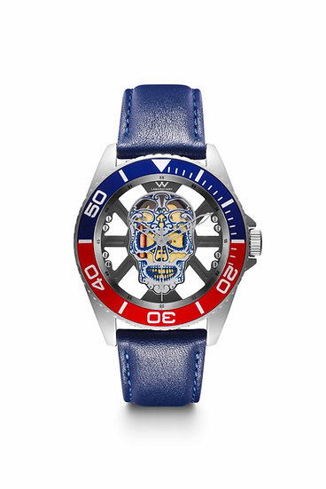 W Laboratory - Hallow SKULL Face Watch - Stainless Steel Black and Blue Bezel