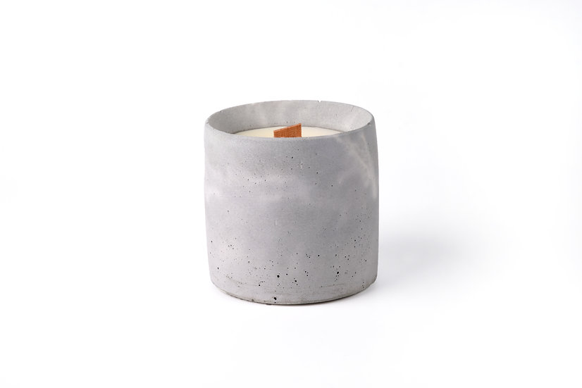 concrete candle - marble grey