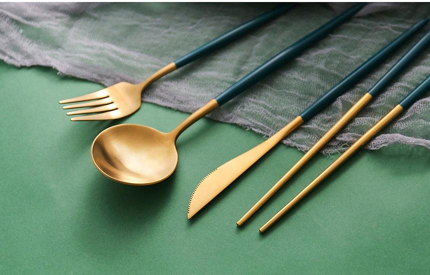 Islandoffer - Stainless Steel Western Tableware Set 4pcs (Green Gold)