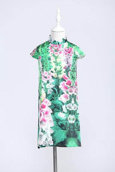 Yi-ming - Kids Snapdragons Print Silk Dress