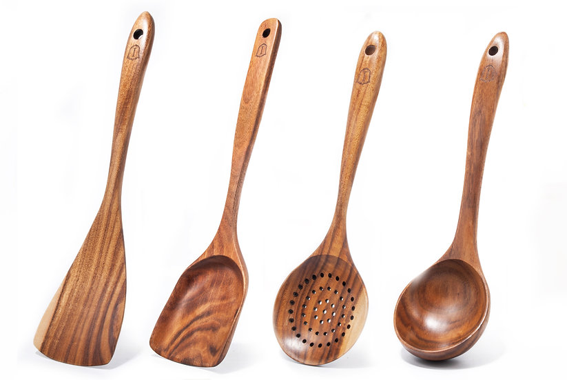 Islandoffer - Thai Teak/Acacia Wood Cooking Set with Long Handle (4pcs)