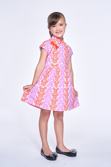 Yi-ming - DISNEY Girls' Mickey Cotton Gathered Dress (Purple)