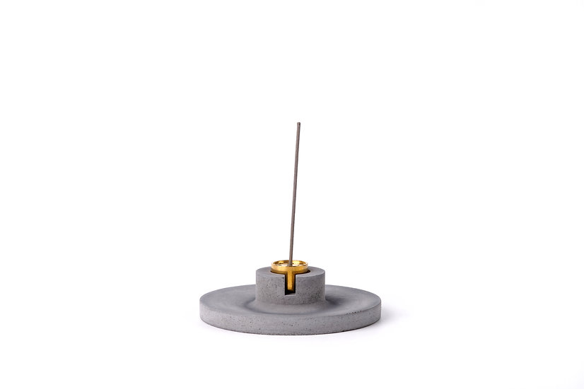 Concrete incense stick holder with brass (disc) - dark grey