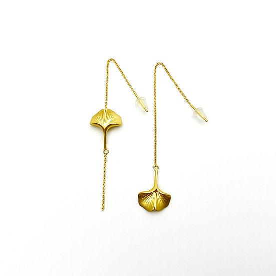 Ginkgo 18K Gold Asymmetric Threader Earrings - paper diamond®