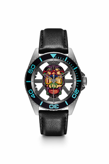 W Laboratory - Hallow SKULL Face Watch - Gun/Black