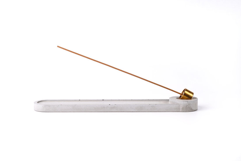 Concrete incense stick holder with brass (long+round) - grey