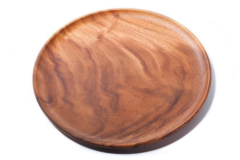 Islandoffer -  Simple black walnut round snack tray, tea tray and fruit tray