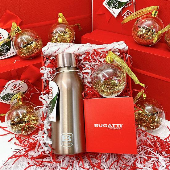 casa Bugatti double wall thermal bottle - Rose Gold Brushed 350ml(Xmas Gift Set)