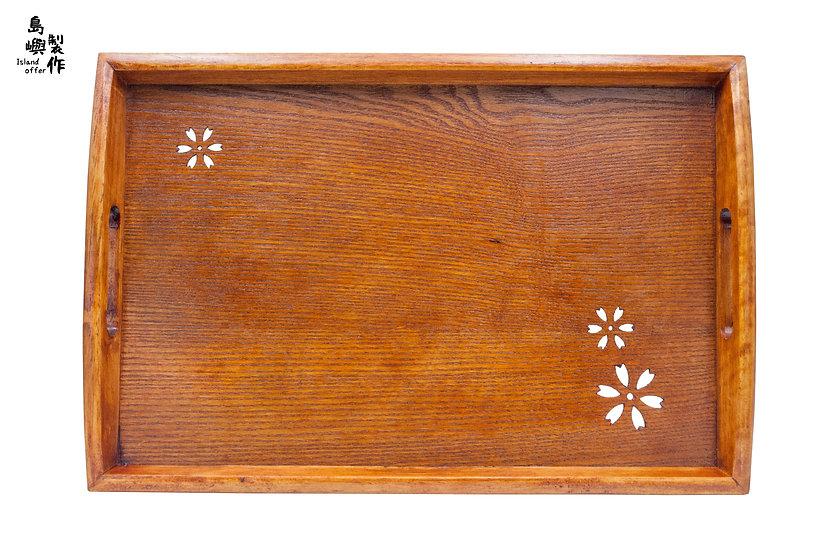 日式經典木製長方形櫻花空心圖案茶盤