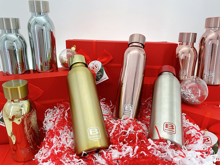 casa Bugatti double wall thermal bottle - Silver Lux 350ml (Xmas Gift Set)