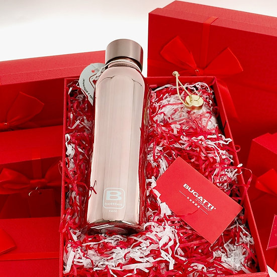 casa Bugatti double wall thermal bottle - Rose Gold Lux 500ml (Xmas Gift Set)