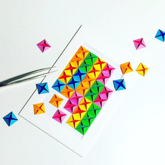 paper diamond® - 3D Paper Art Frame (Rainbow/White) / 彩色立體紙雕家居擺飾畫架
