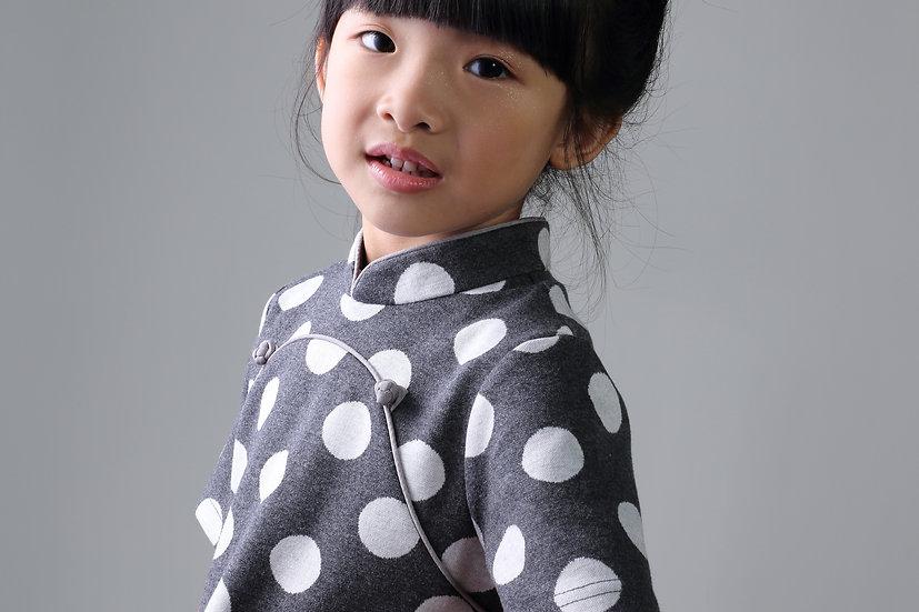 Yi-ming - BAMBI Polka Dot Cotton Cheongsam (Grey/ White)