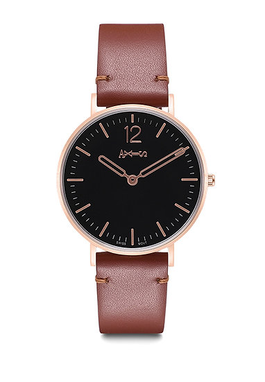 AXIS - Genuine Leather Quartz Watch / Classic Collection (Brown/Grey)