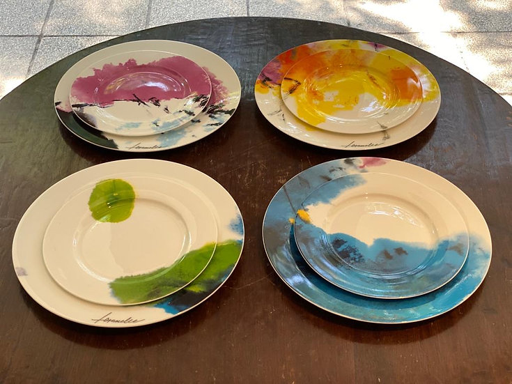 "Gitone - ""BLESSINGS"" Bone China Plate Set of 4 / 梓桐堂 -「祝福」四碟骨瓷套裝"