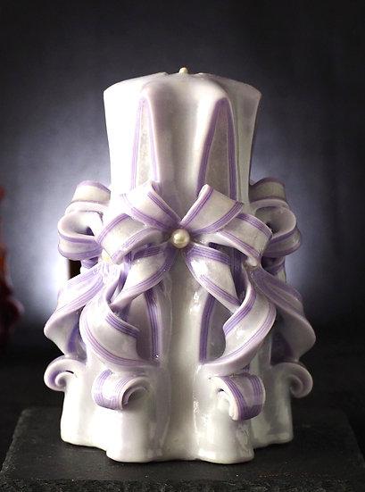 "Carved Candle - Eclat - light purple 6"" 藝術㓮刻蠟燭"