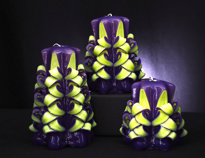 "Carved Candle - Viva - purple/neon yellow 4""/5""/6"" 藝術㓮刻蠟燭"