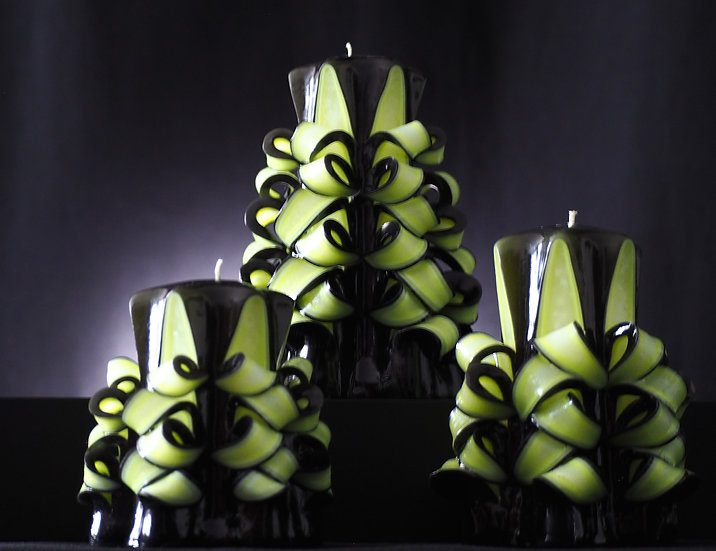 "Carved Candle - Viva - black/neon yellow 4""/5""/6"" 藝術㓮刻蠟燭"