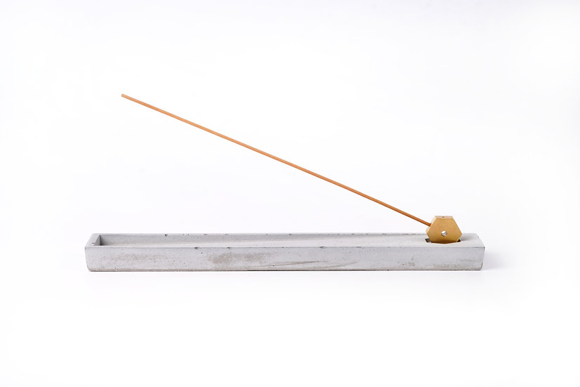 Concrete incense stick holder with brass (long+rectangle) - grey